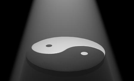 Yin Yang op zwart met bovenlicht