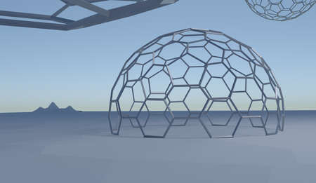 dali: abstract landscape with hexagone wire spheres in blue colors, 3d render