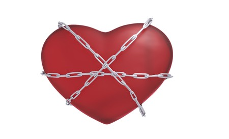 bounds: heart bounded with a chain 3d render