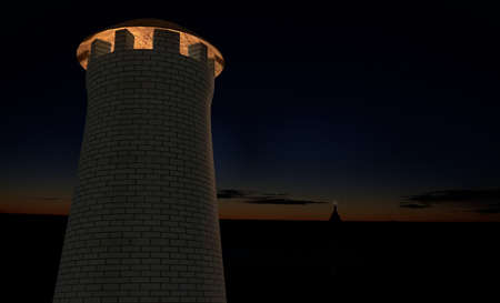 military watch: military watch signal tower on sunset sky 3d render Stock Photo
