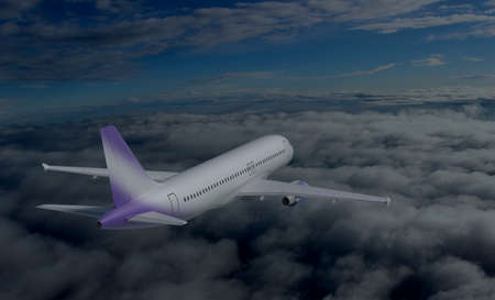 private jet: Airplane model flying over sky 3d render Stock Photo