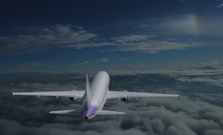 private jet: Airplane model flying over sky with rainbow 3d render