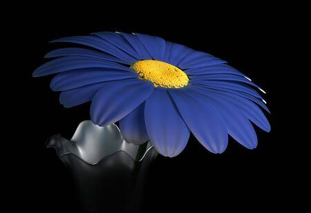 Gerbera flowers in glass vase 3d render