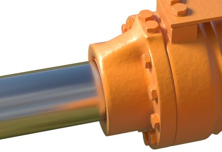 yellow hydraulic pistons with bolt and nut on white 3d render Stock Photo