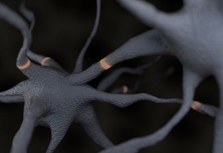hormon: Gray neuron with signals impulses 3d render