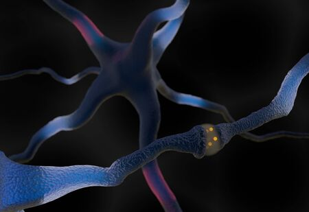 synapse: Synapse and Neuron cells sending electrical chemical signals 3d render Stock Photo