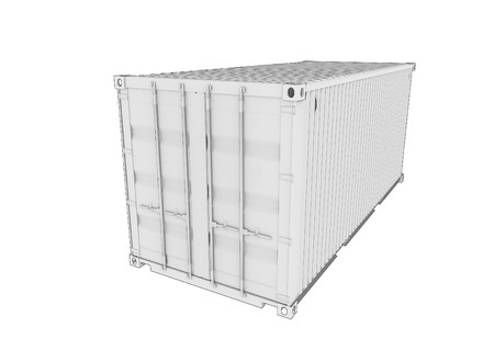 on white: Shipping Container 3d render isolated on white Stock Photo
