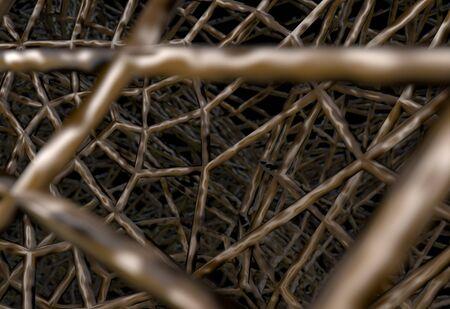 Braided Net Basket Background on black 3d render