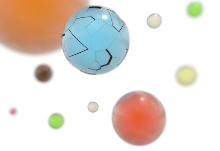 color balls: 3d flying shining color balls with reflection 3d render