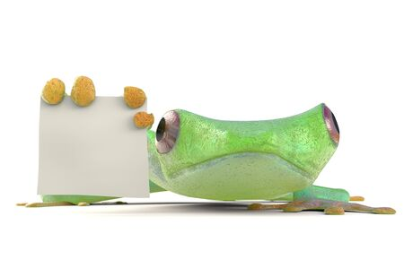 Frog with a blank sign 3d render
