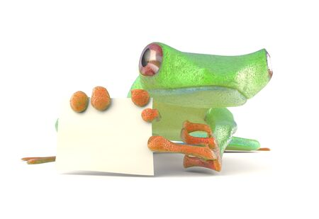 croaking: Frog with a blank sign 3d render