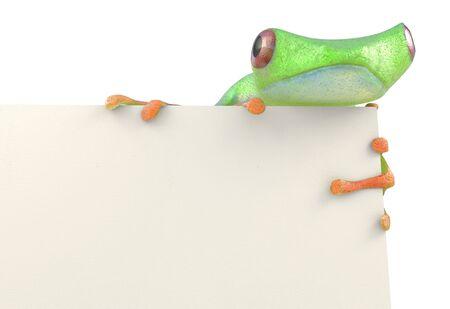 De kikker met een leeg 3d teken geeft terug