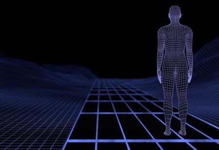 Digital man in digital world. 3d render