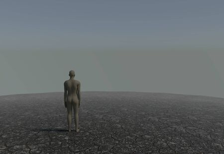 soli: One man in a desert with cracked soil 3d render
