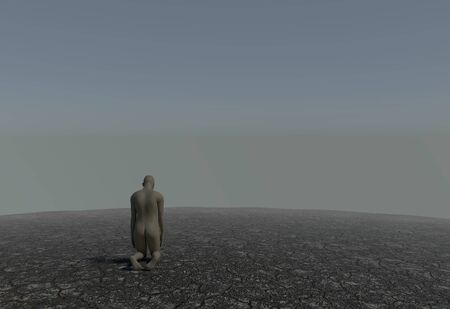 soli: One man kneeling in a desert with cracked soil 3d illustration