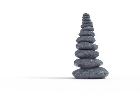 equivalence: balancing stones set 3d illustration