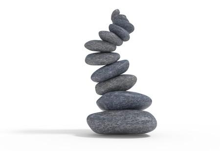 contradiction: broken balancie falling stones set 3d illustration