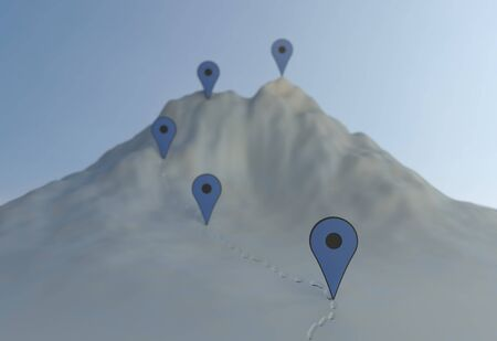 Concept navigation on the mountains. hard way with pin and checkpoints. 3d illustration Stock Photo