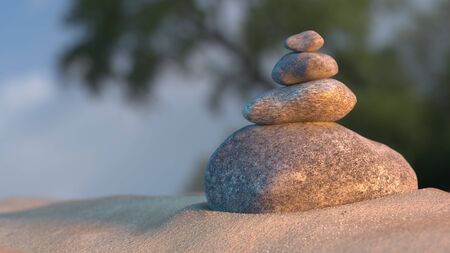 sunset beach: Stones balance on beach, sunrise 3d illustration