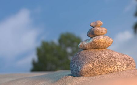 Stones balance on beach, sunrise 3d illustration