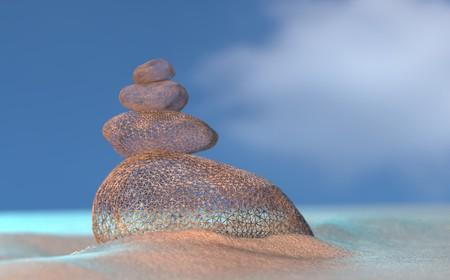 Virtual imagine wireframe stones balance on beach, sunrise 3d illustration