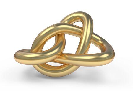 Golden Knot, 3D illustration isolated on white