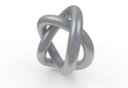 grey steel knot, 3D illustration isolated on white