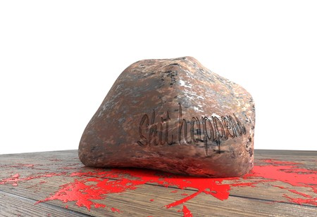 shit happens text on heavy stone smash and small blood on wood floor 3d illustration