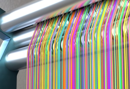 Textile machine with rainbow colors threads. 3d illustration Stock Photo