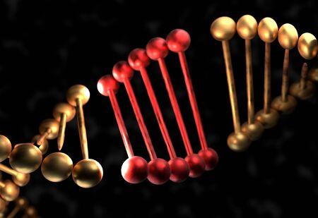 La molécula de ADN con el gen defectuoso 3d ilustración Foto de archivo