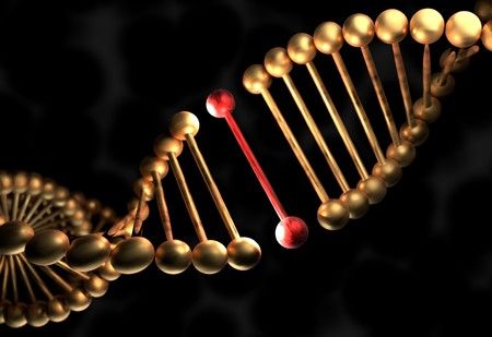 The DNA molecule with defective gene 3d illustration