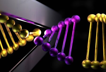 modification: DNA cut the part with a scissor 3d illustration Stock Photo