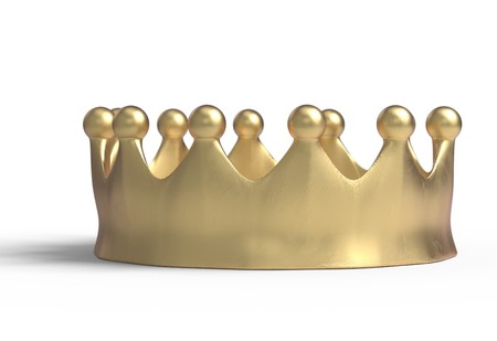 luxuriance: gold crown isolated on a white 3d render Stock Photo