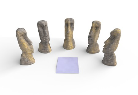 Group of moai sonte idol looking on paper meeting concept