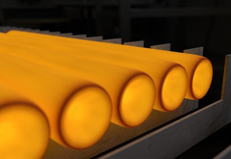 steel mill: Hot metal after rolling getting cold 3d illustration