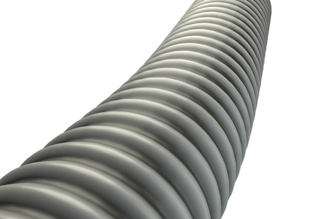 plastic conduit: metal ribbed hose isolated on white background 3d render