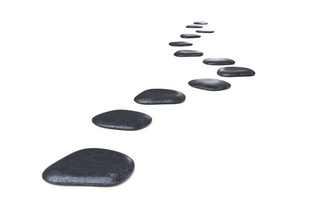 stepping: Stone path over on white background 3d illustration Stock Photo