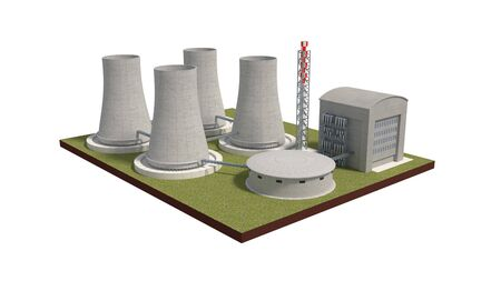 turbina de vapor: nuclear power plant isolated on white 3d illustration