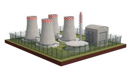 Fence security object nuclear power plant with power of detention. 3d render