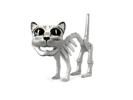 cartoom: Funny skeleton cat souvenir from mexico 3d illustration isolated in white