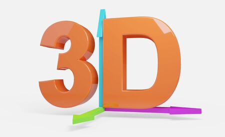3D text orange with arrows illustration isolated Stock Photo