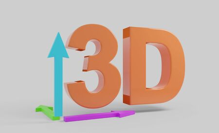 3D text orange with arrows illustration