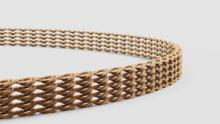 Close up shot of gold bracelet 3d illustration