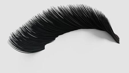 long eyelashes: False eyelashes. Woman beauty product. False lashes realistic. 3d illustration