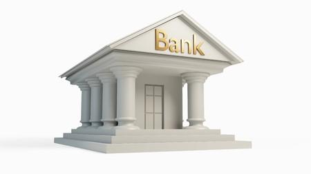절연 열과 골동품 흰색 은행 건물 개념입니다. 3D 일러스트 레이션 스톡 콘텐츠