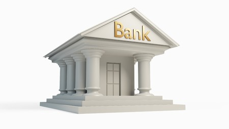 antique white bank building concept with column isolated. 3D illustration