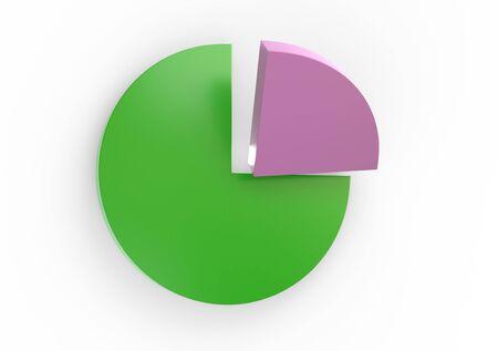 Kleurengrafiek met 3d illustratie van de kwartsectie