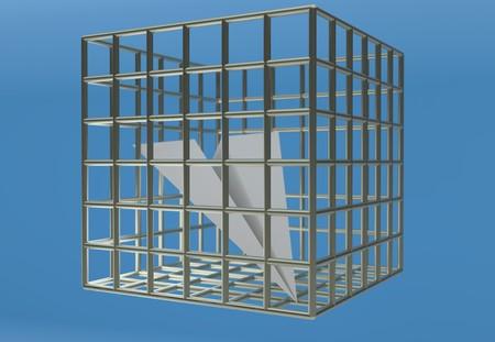 Paper airplane prison jail blocking telegram 3d render