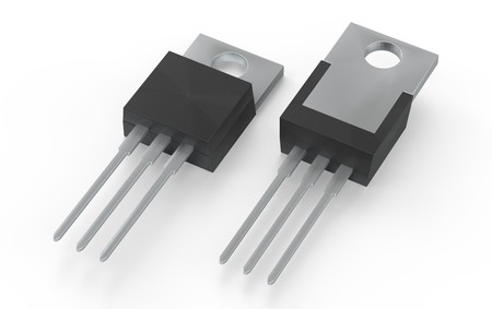 Isolated TO-220 MOSFET electronic package 3d illustration Standard-Bild - 114551332