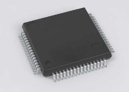 Electrionic Circuit Chip Package LQFP 3d illustration Stock Photo